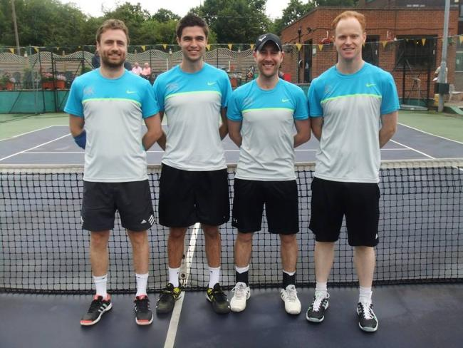 Newly promoted - the Billericay Tennis Club team who are lining up in the top division this season