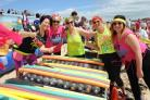 Thorney Bay beach, Canvey. Canvey Raft Race. Canvey Zumba L-R: Sandra Amey-Martin, Sue Craigie, Sally Anne Dilley, Jodie Lewis, Emily Mansfield. Picture Steve O'Connell 11-06-17