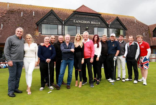 Celebrity faces - Peter Shilton (far left) and Bobby Davro (sixth from left) at Langdon Hills Golf Club