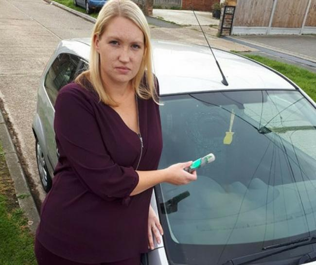 Shocked - Sophie Harding could hardly believe her luck when she found her windscreen smashed by a rogue firework