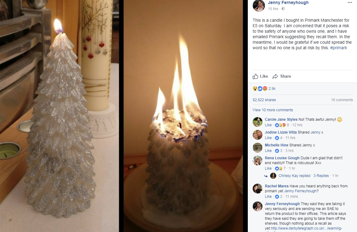 CONCERN: A customer claimed a candle she bought from Primark burst into flames