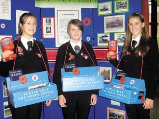 Echo: Poppy sellers – Year 11 prefects Corrie Thorn, Jessica Peck and Francesca Syrett.