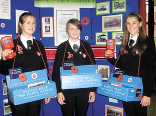 Poppy sellers – Year 11 prefects Corrie Thorn, Jessica Peck and Francesca Syrett.