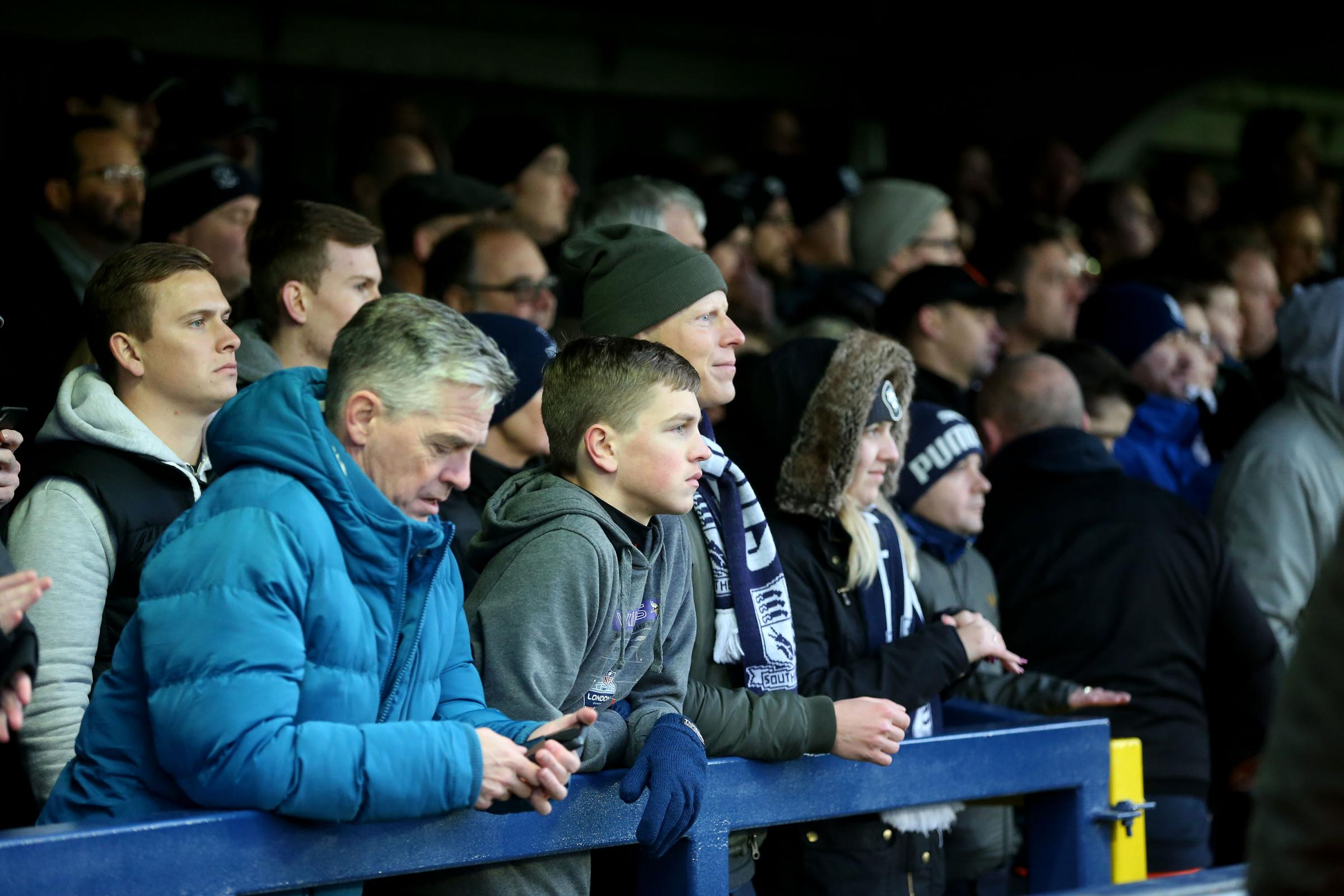 Frustrated - Southend United's travelling supporters at AFC Wimbledon
