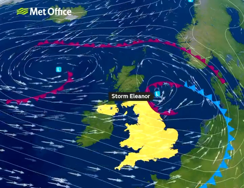 Eleanor - the Met Office have issued warnings about the storm which is expected to continue throughout today