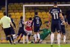 Breaking the deadlock - Toumani Diagouraga puts Fleetwood Town in front at Roots Hall