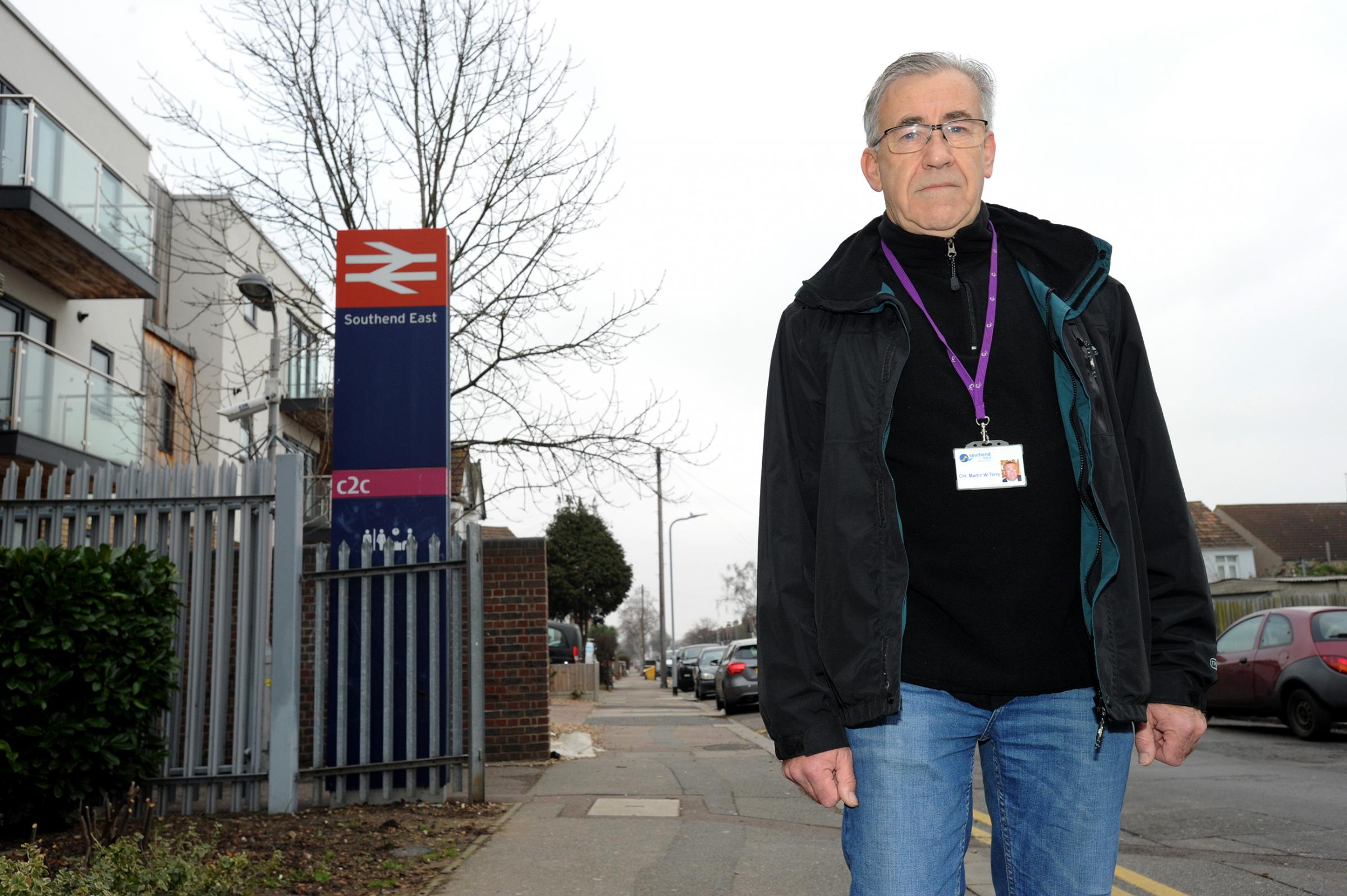 Ambleside Drive, Southchurch. Independent Councillor Martin Terry wants CCTV camera coverage near Southed East station to combat a series of muggings and drug dealing in the area. Picture Steve O'Connell 13-01-17.