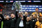 Happier times - Phil Brown celebrates after winning the 2015 League Two play-off final at Wembley