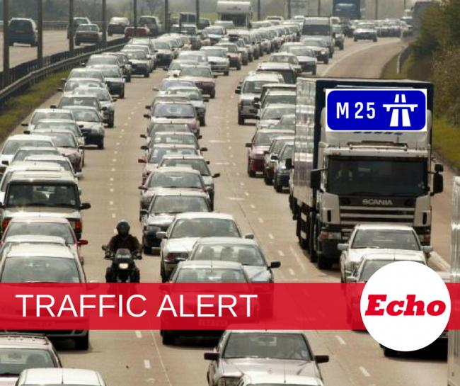 Two lanes closed on M25 clockwise