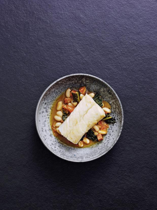 Echo: Undated Handout Photo of stewed skrei with cannellini beans and chorizo. See PA Feature FOOD Roux. Picture credit should read: PA Photo/Norwegian Seafood Council/Steve Lee. WARNING: This picture must only be used to accompany PA Feature FOOD Roux.
