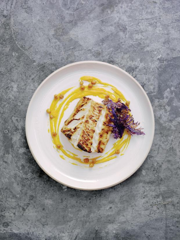 Echo: Undated Handout Photo of miso-glazed skrei cod with carrot and ginger purée and crispy kale. See PA Feature FOOD Roux. Picture credit should read: PA Photo/Norwegian Seafood Council/Steve Lee. WARNING: This picture must only be used to accompany PA Featu