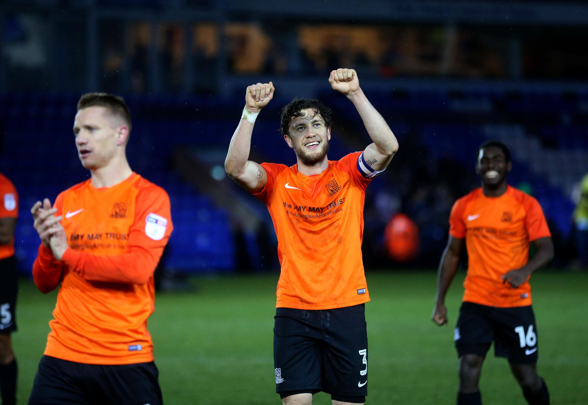 JD and Cokes - Jason Demetriou and Ben Coker celebrate last weekend's win at Peterborough United