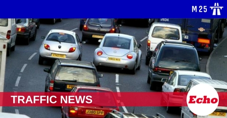 Severe delays on the M25 after lane closed