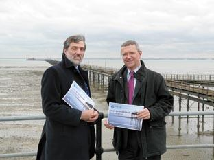 Council leader Nigel Holdcroft and chief executive Rob Tinlin at the pier