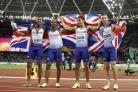 Adam Gemili, second from right, won gold in London last year (Martin Rickett/PA)