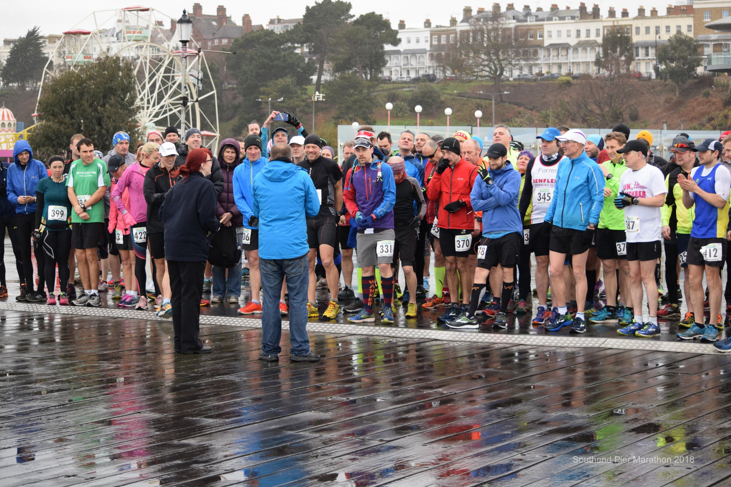 Prepared - the athletes line-up before the race gets underway Picture: JON LAVIS