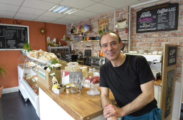 Echo: Lee Pagliarini in his cafe, Bellissimo in Wimpole Street, Colchester..