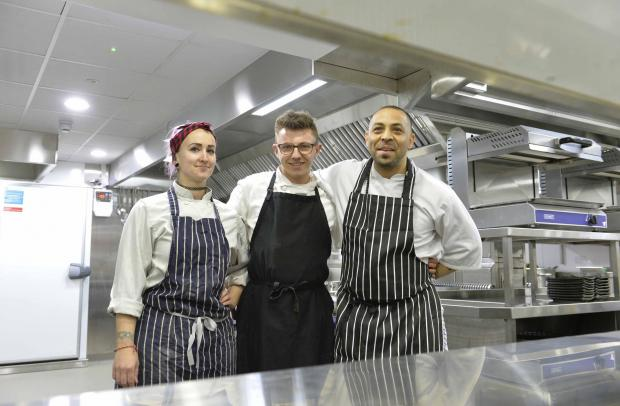 Echo: Pavilion about to open Colchester..Kitchen staff (from left) Jo Lucking, Jamie Ivory and Yalcin-I-A (corr).