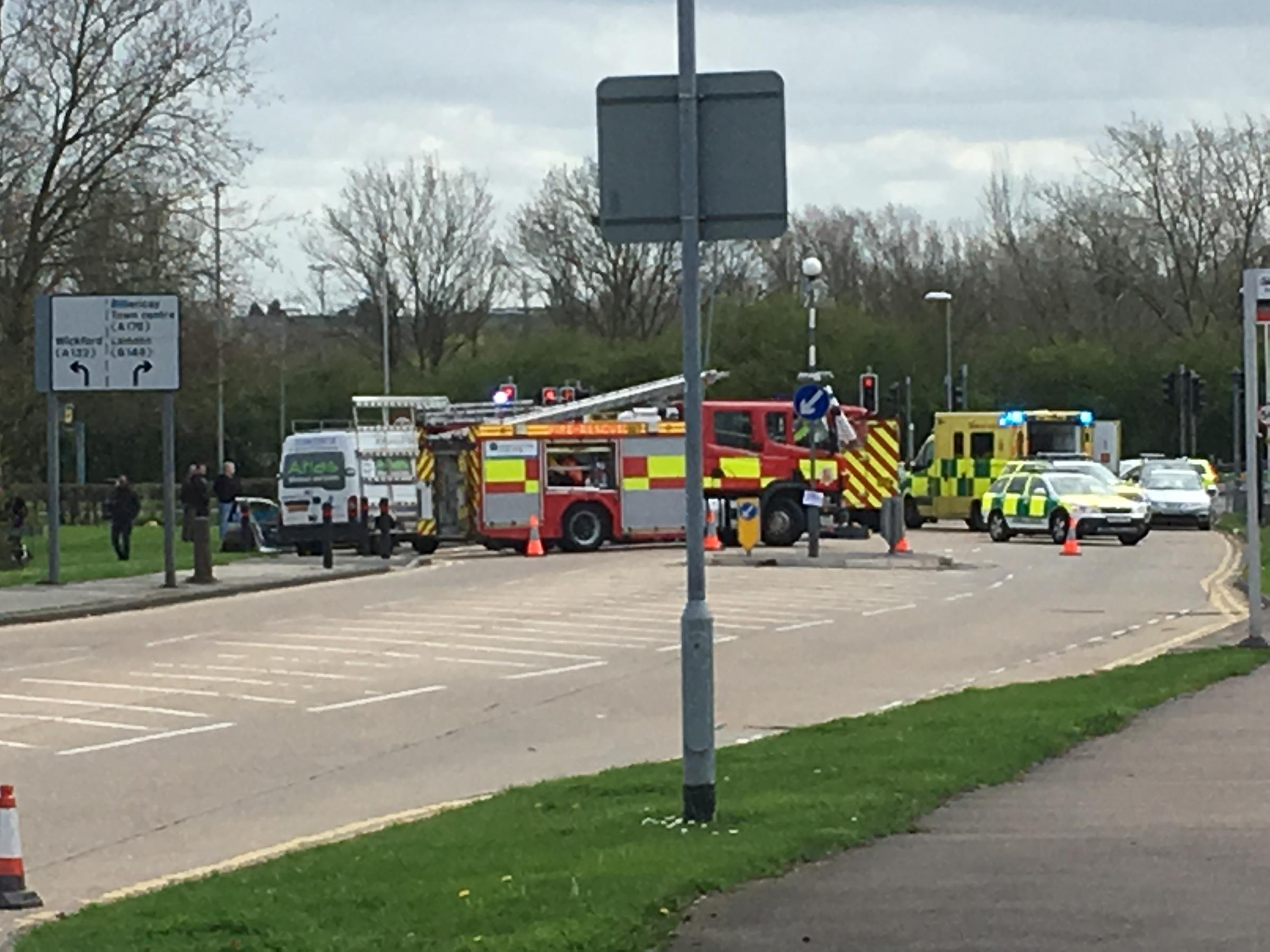 Emergency services on scene of crash