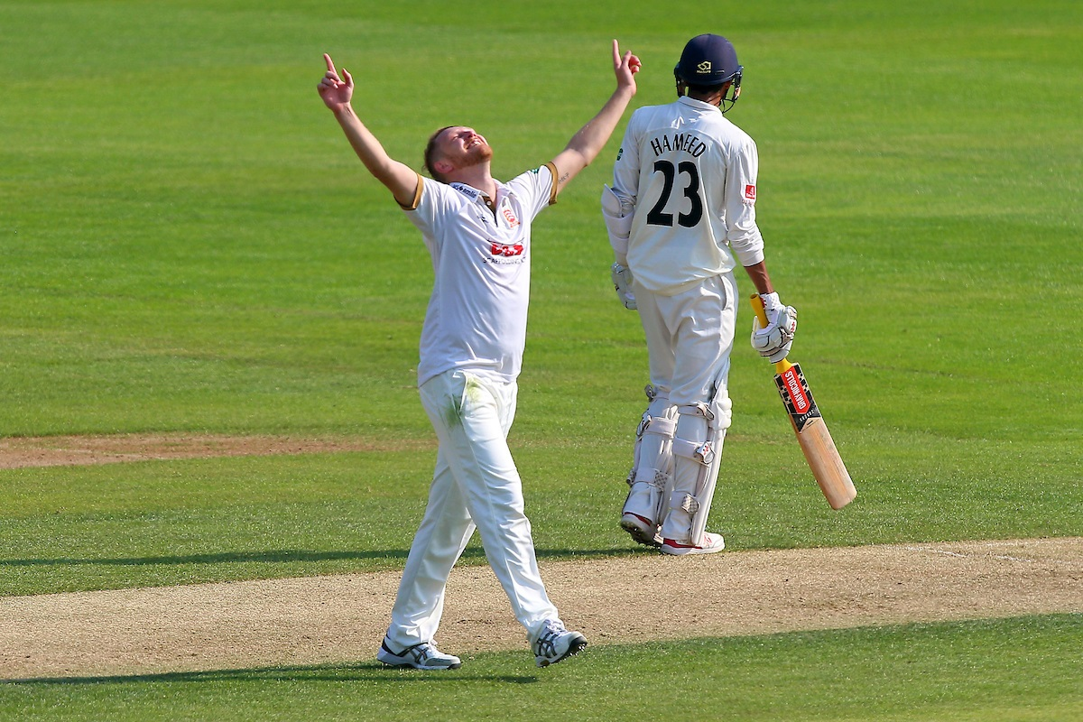 Essex's Jamie Porter celebrates taking the wicket of Alex Davies of Lancashire in their Specsavers County Championship division one match at the Cloudfm County Ground Picture: GAVIN ELLIS/TGS PHOTO