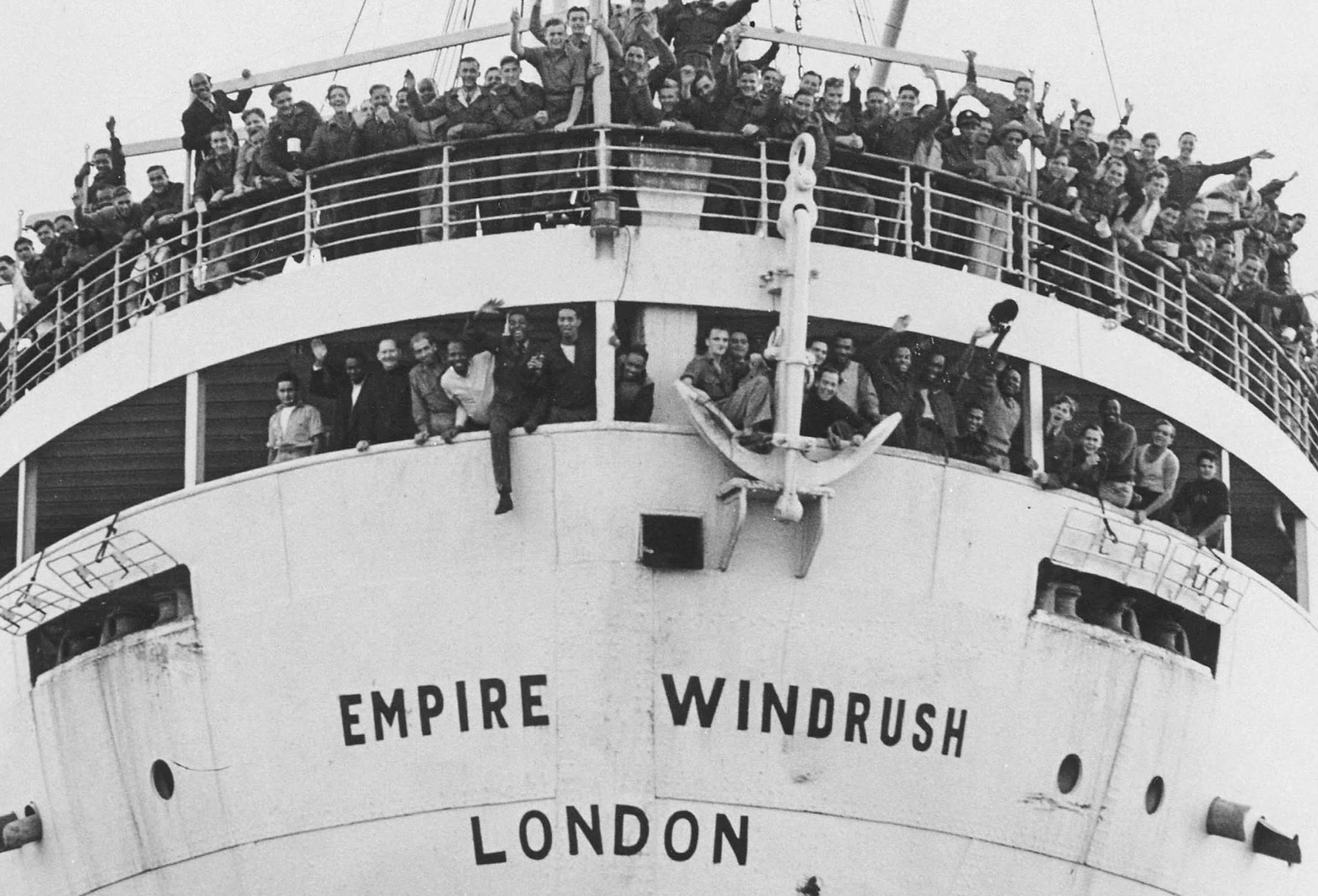 Arrival - the Windrush approaches Tilbury Docks in June 1948