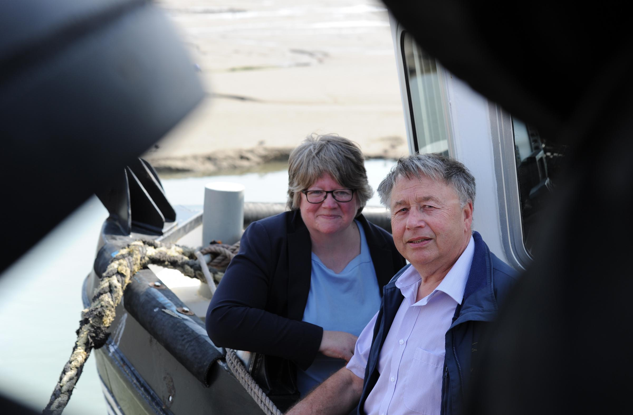 Old Leigh.Minister Therese Coffey with local fisherman Paul Gilson. Picture Steve O'Connell 21-04-18