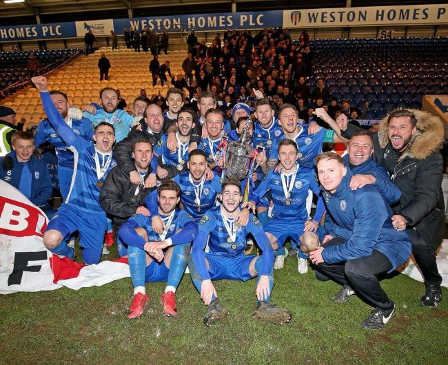 Treble - Billericay Town added to their Essex Senior Cup and Isthmian League Cup wins by claiming the Isthmian Premier League title with a win over Harlow Town Picture: NICKY HAYES