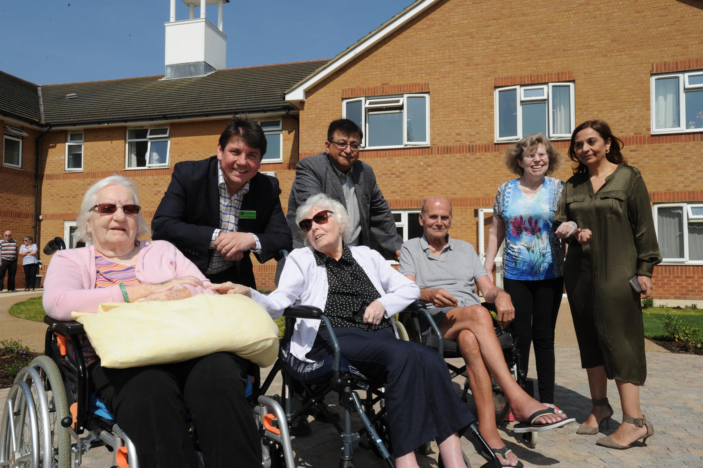 Gifford House Care Home, London Road, Bowers Gifford. L-R: AnnBruce,  Stephen Metcalfe MP, Alice Donnelly,, Manish Chotai, Michael Milne, Susan Moran, and Saloni Chotai. Picture Steve O'Connell 21-04-18