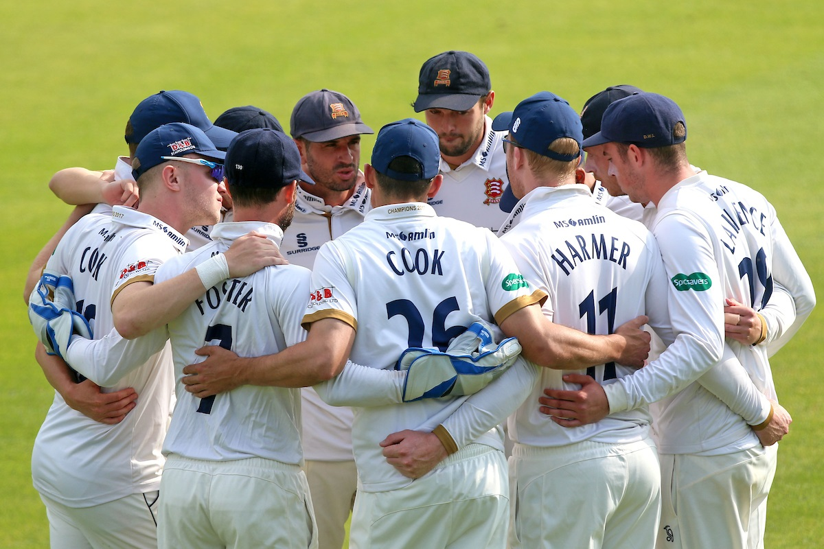 All together now - Essex players huddle during a remarkable first day of action in their Specsavers County Championship division one game against Yorkshire Picture: TGS PHOTO