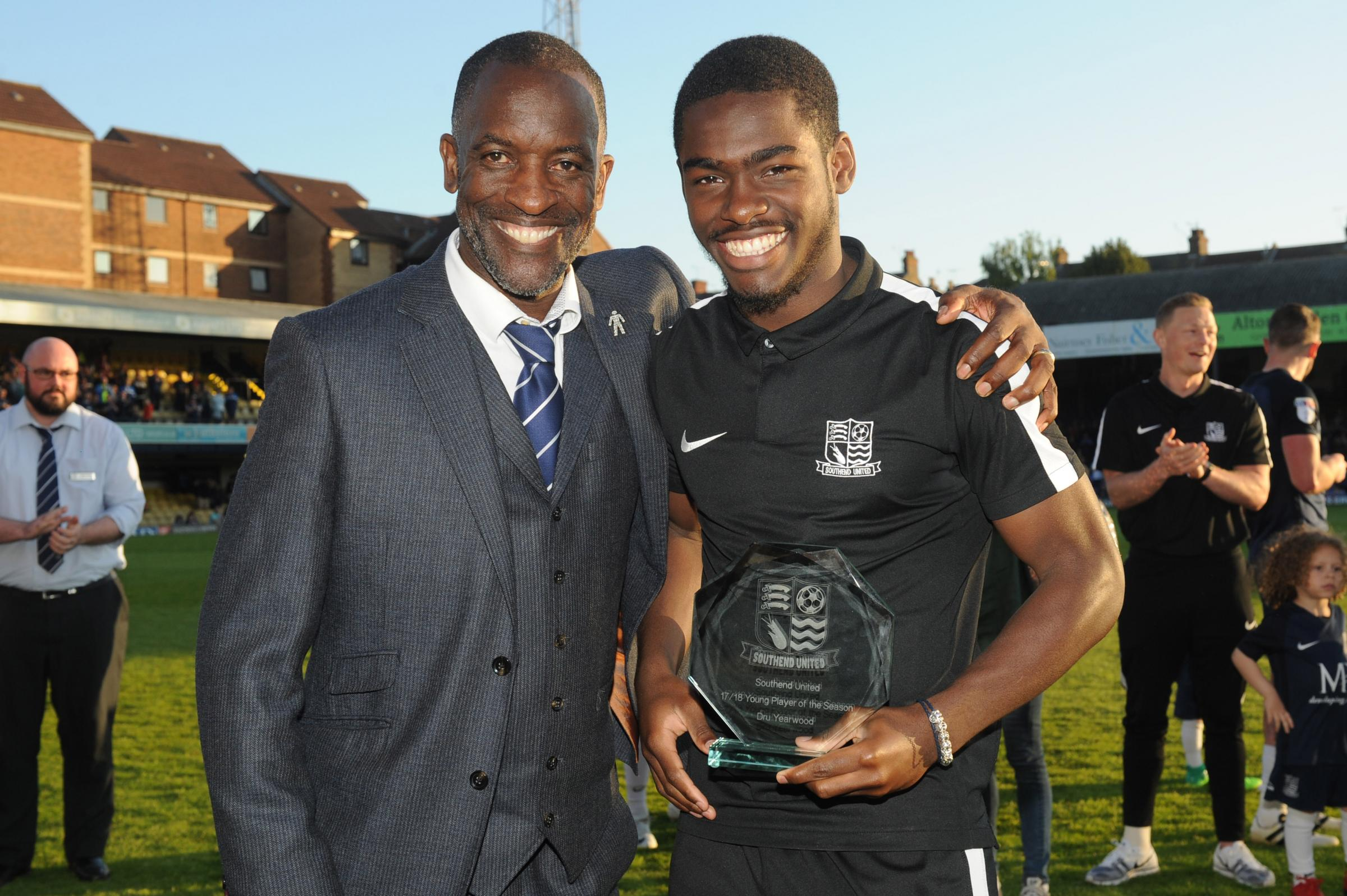 Young player of the year - Dru Yearwood with Blues boss Chris Powell