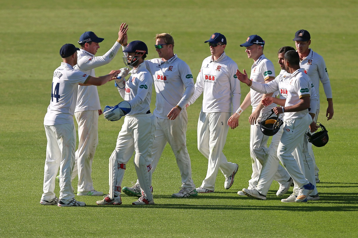 Essex's Simon Harmer celebrates with his team-mates after taking the wicket of Ben Twohig Picture: GAVIN ELLIS/TGSPHOTO