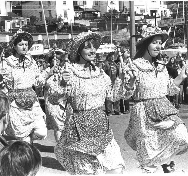 Echo: Ladies who dance -  morris members in action at the 1983 Leigh Regatta