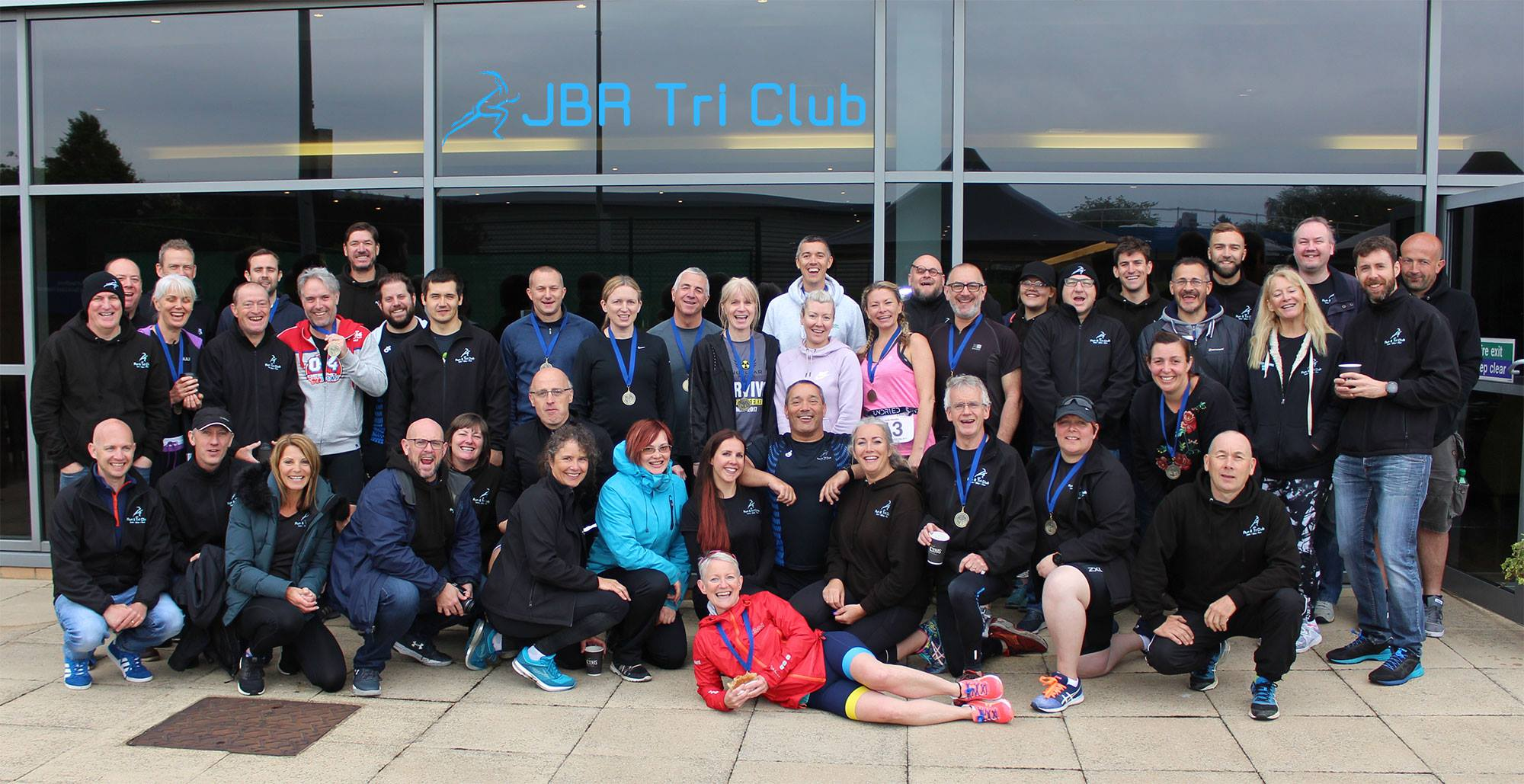 Group shot - the triathletes and their coaches at the end of their event at David Lloyd Southend