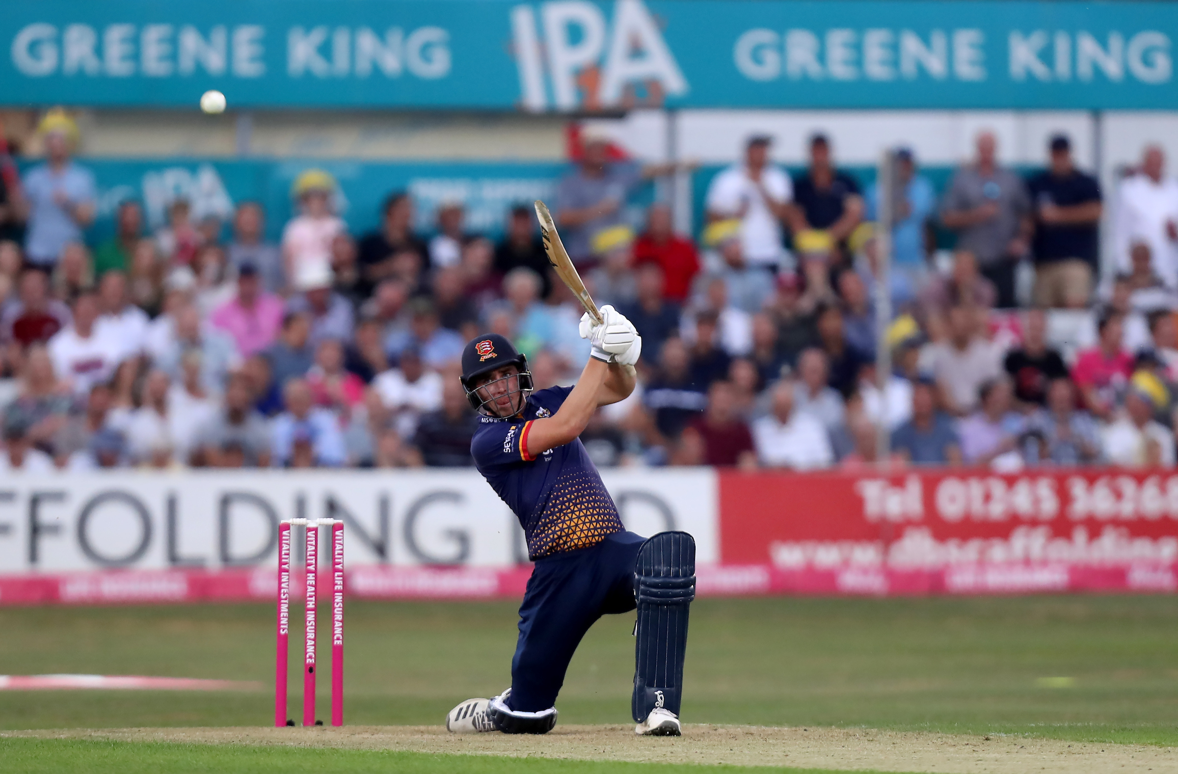 Daniel Lawrence adds runs for Essex Eagles in their Vitality Blast T20 game against Hampshire. Picture: Gavin Ellis/TGS Photos