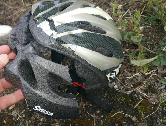 The cycle helmet following the crash