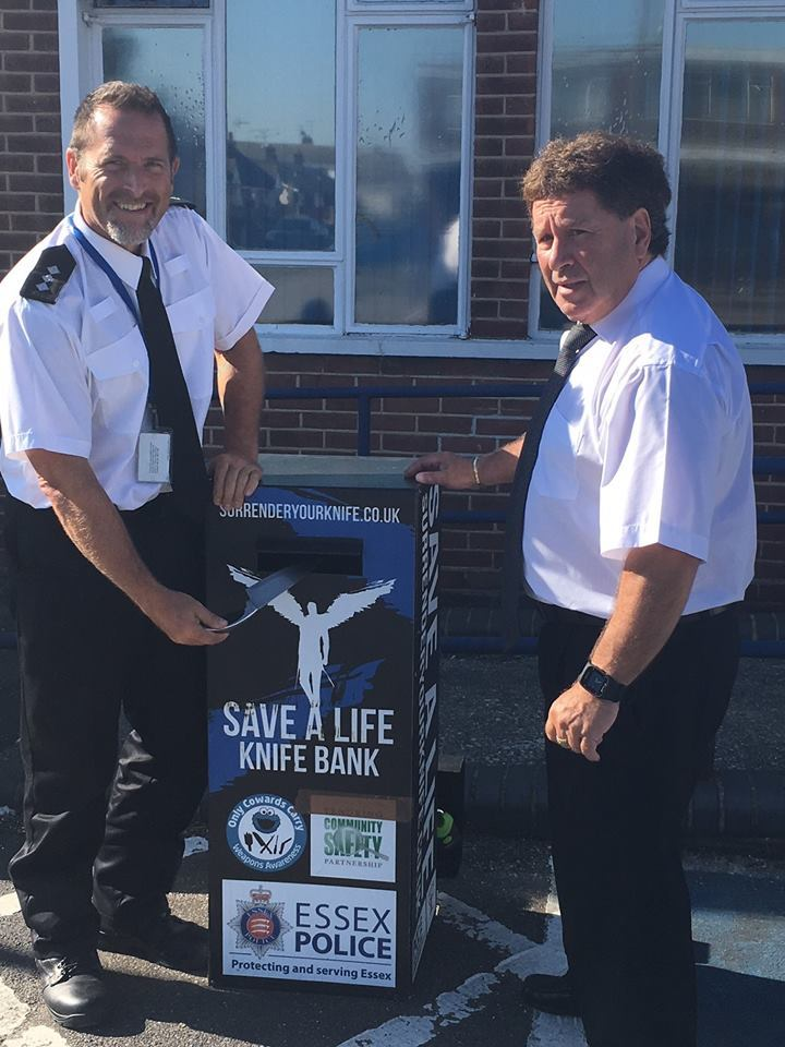 Chief Inspector Glen Westley and Cllr Godfrey Isaacs at the newly installed knife amnesty bin