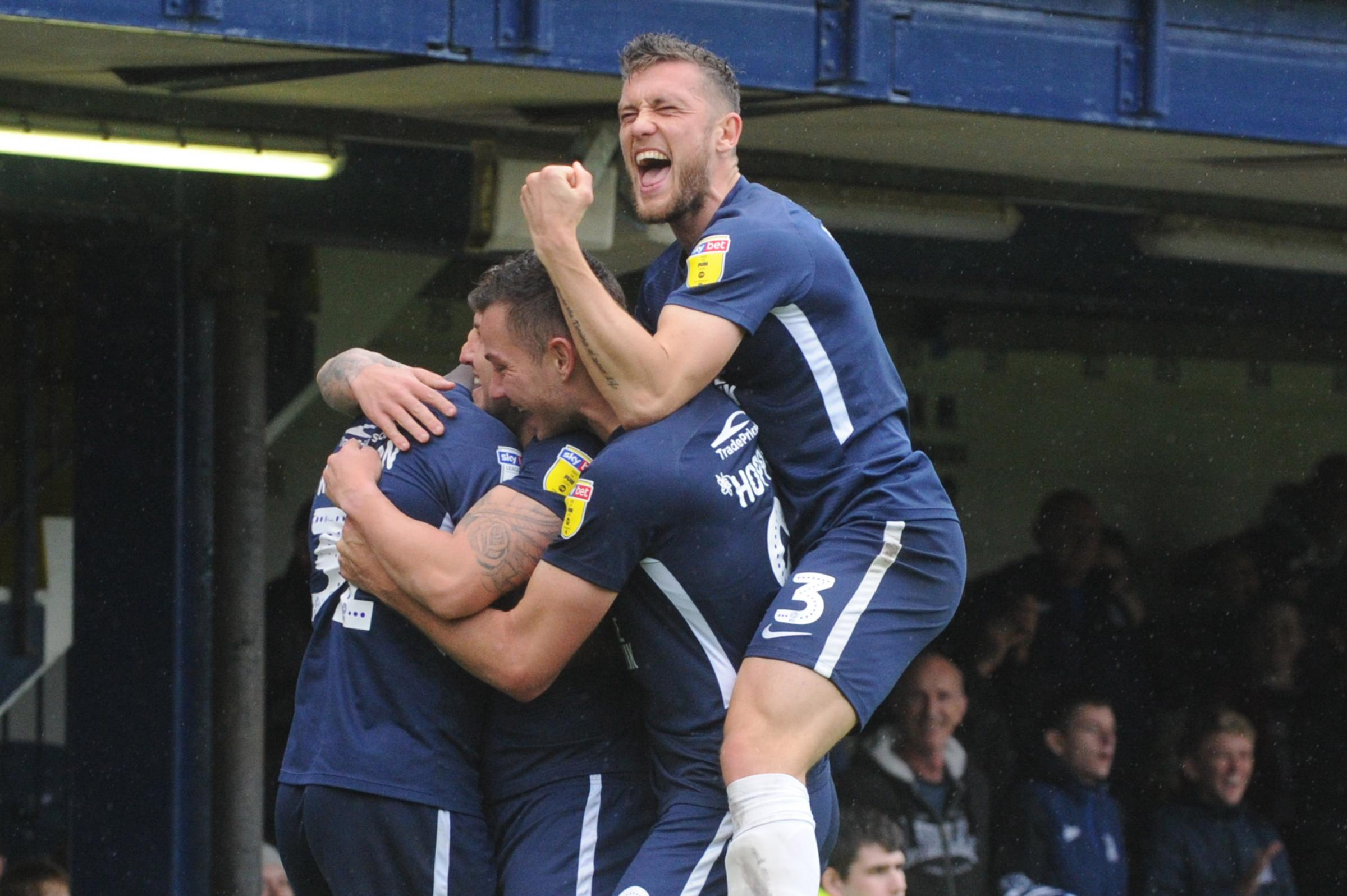 Celebration time - Southend United's players celebrate Simon Cox's goal