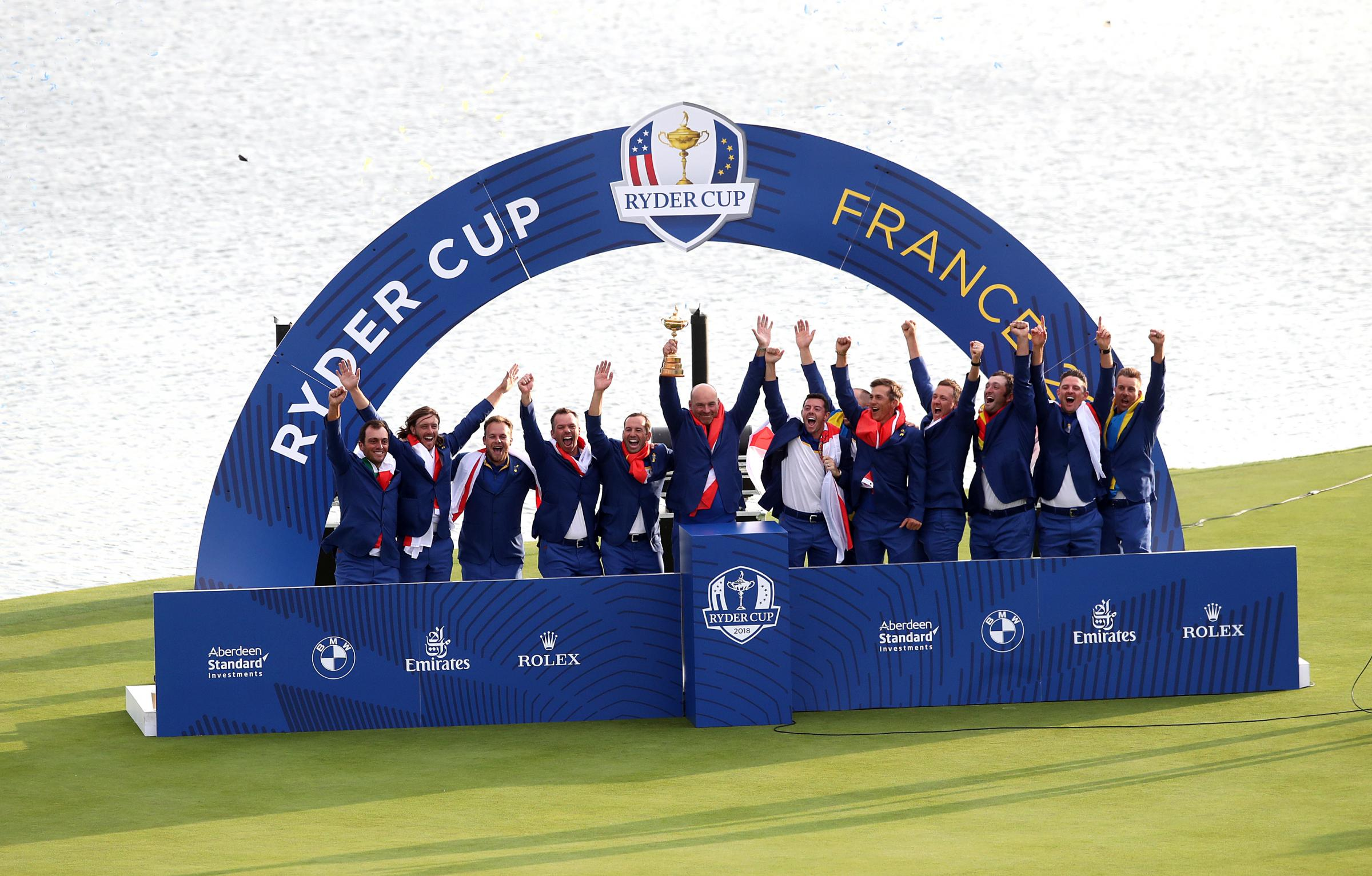 Triumphant - Team Europe celebrate after clinching the Ryder Cup at Le Golf National