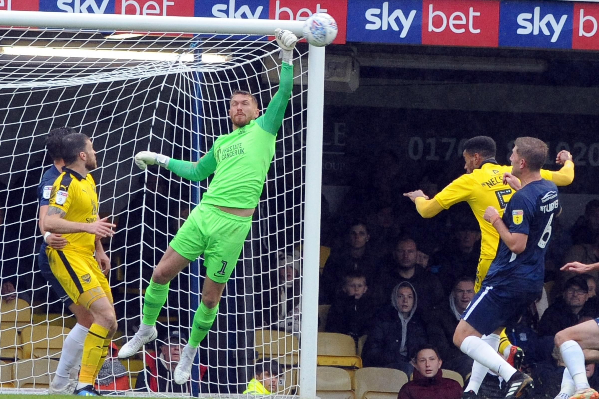 Punching the ball clear - Southend United goalkeeper Mark Oxley