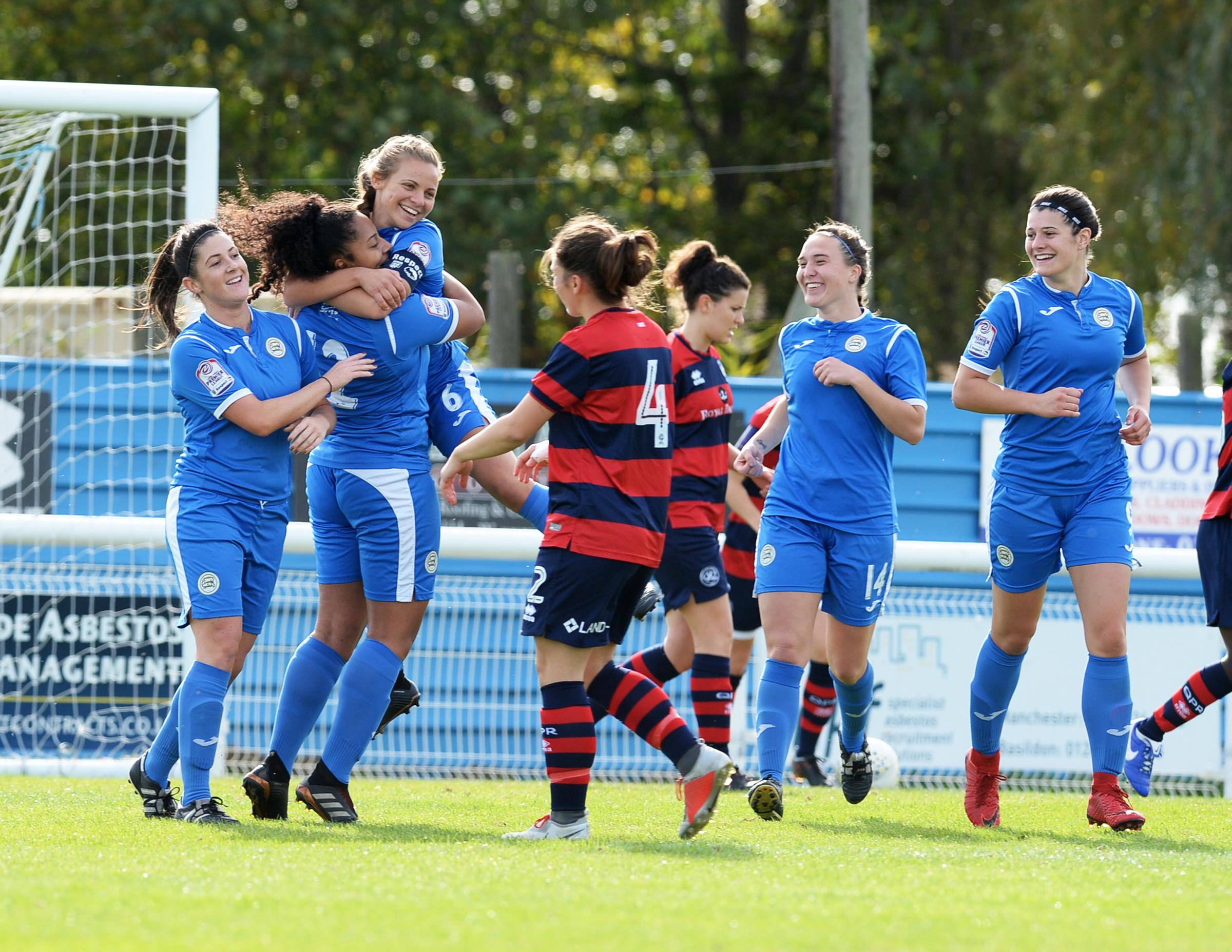 On the scoresheet - Courtney Clarke is congratulated after hitting the opener Picture: MAXINE CLARKE