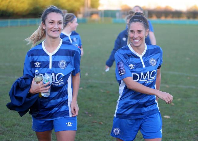 All smiles - Amy Nash (right) celebrates with match-winner Georgia Box after beating Norwich City Ladies Picture: NICKY HAYES