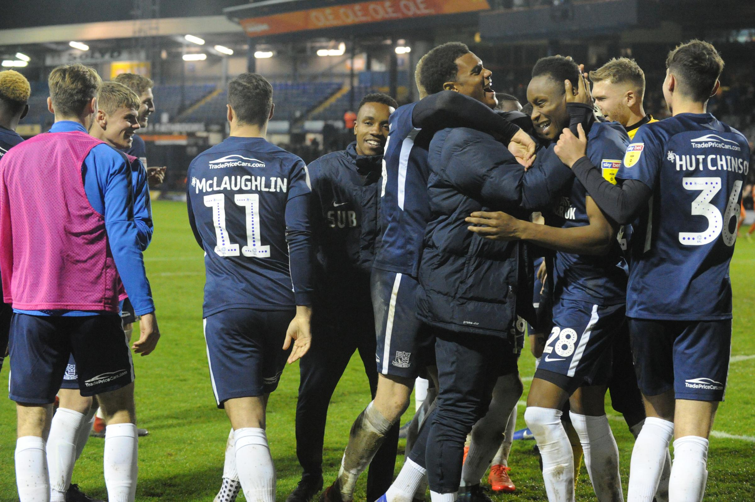 Showing their joy - Southend United celebrate their win at Luton Town
