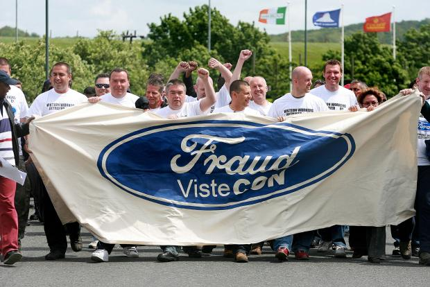 Visteon workers on an earlier demonstration (file picture)