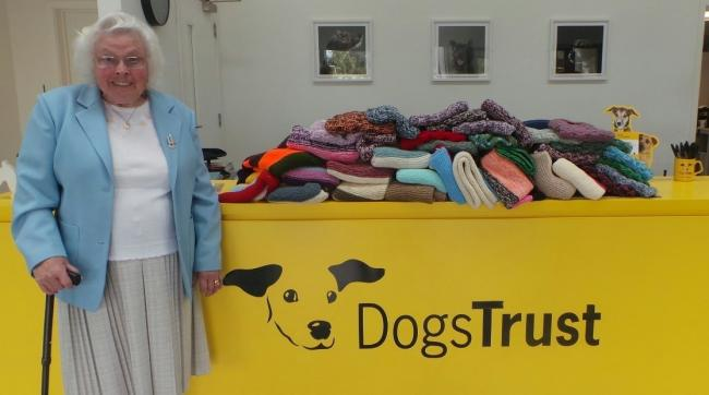 Charitable - Maisie Green, 89, has knitted 450 blankets for Dogs Trust Basildon