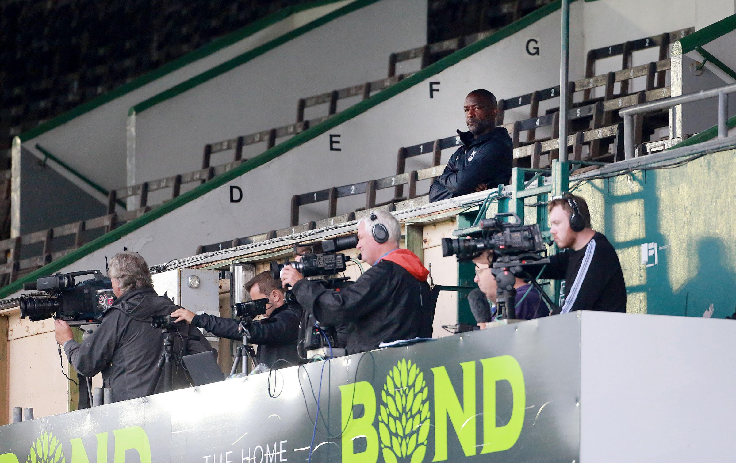 Watching on - Chris Powell was sent to the stands at Plymouth Argyle in August