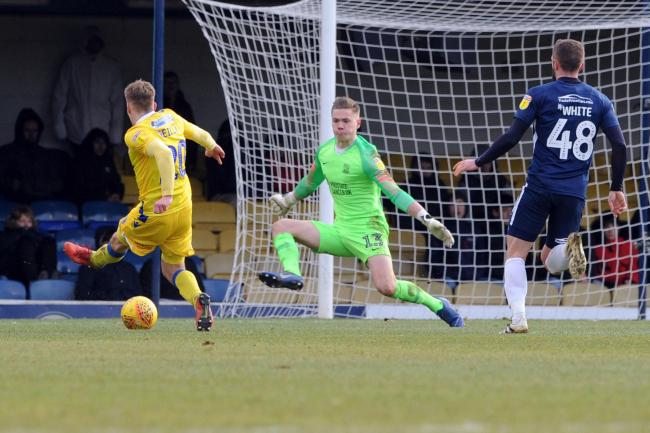 Winning goal -  Gavin Reilly nets Bristol Rovers' second goal of the game