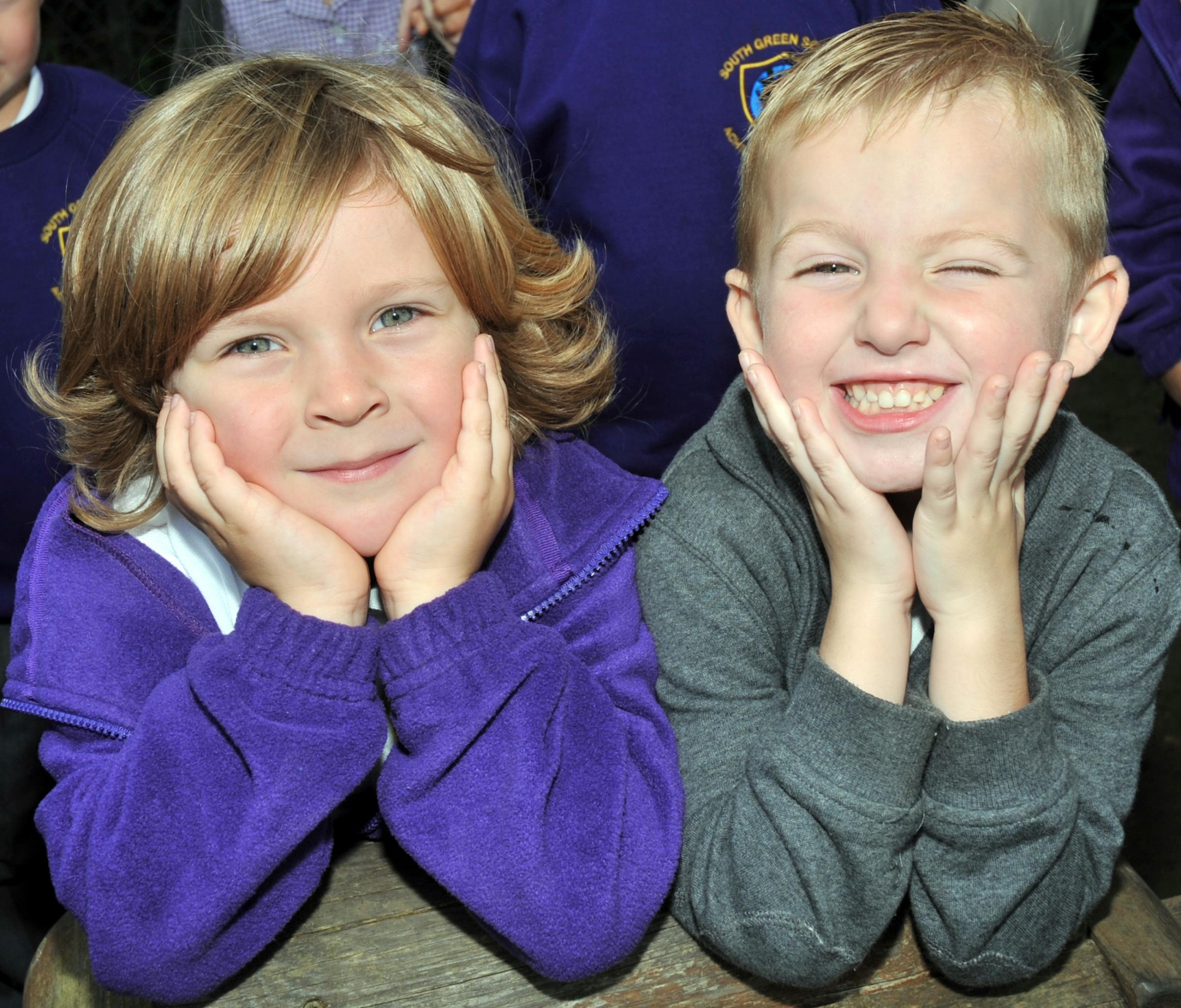 SOUTH GREEN INFANT SCHOOL, GANELS ROAD, SOUTH GREEN, BILLERICAYTel: 01277 651478. First day at school supplement.PIC: Roman Page and Georgie Franklin-Smith are best friend already just after 3 days at school.  Puple Class (Mrs Body's class).PHOTOGR