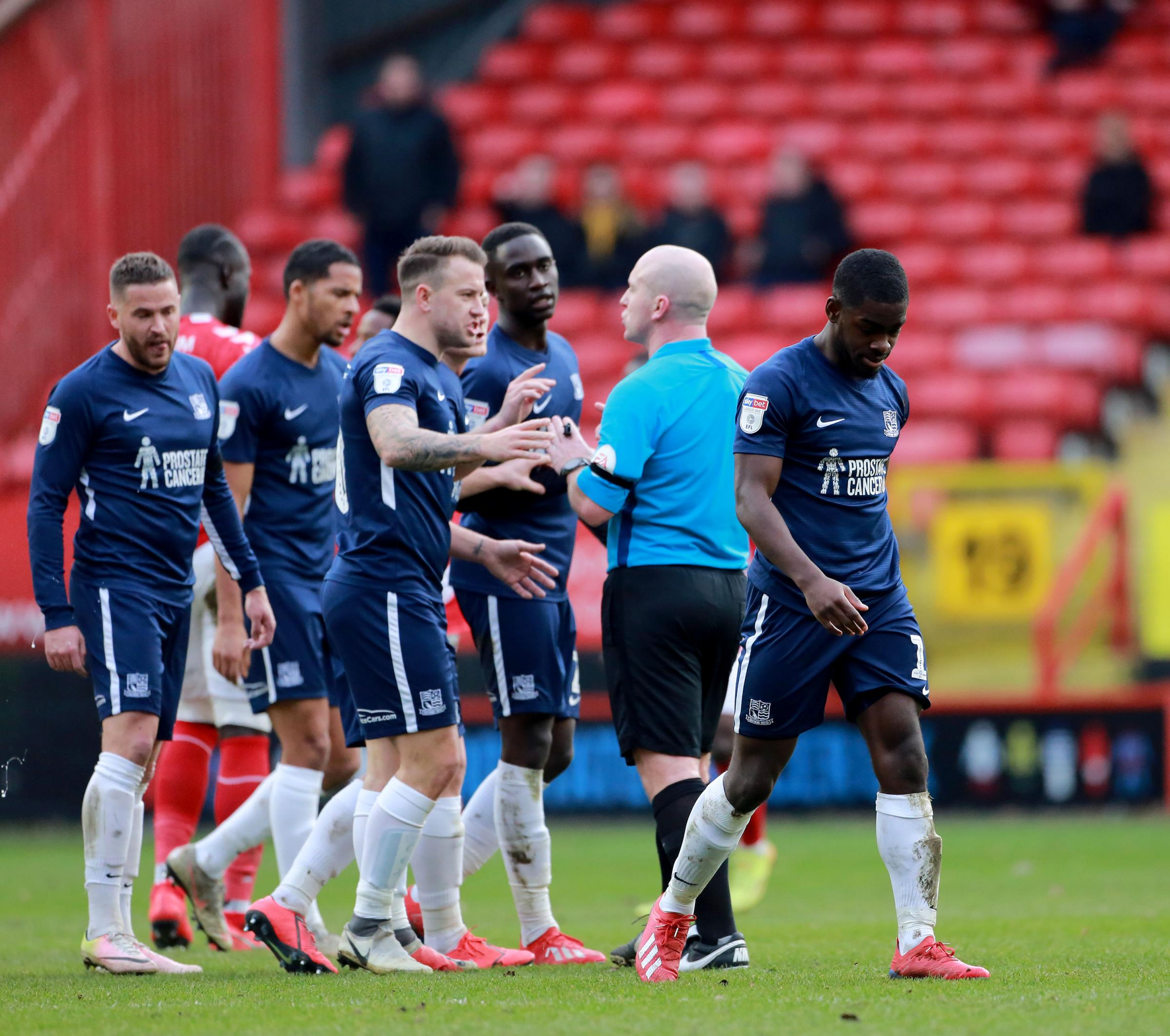 Red carded - Dru Yearwood trudges off after being sent off at Charlton Athletic