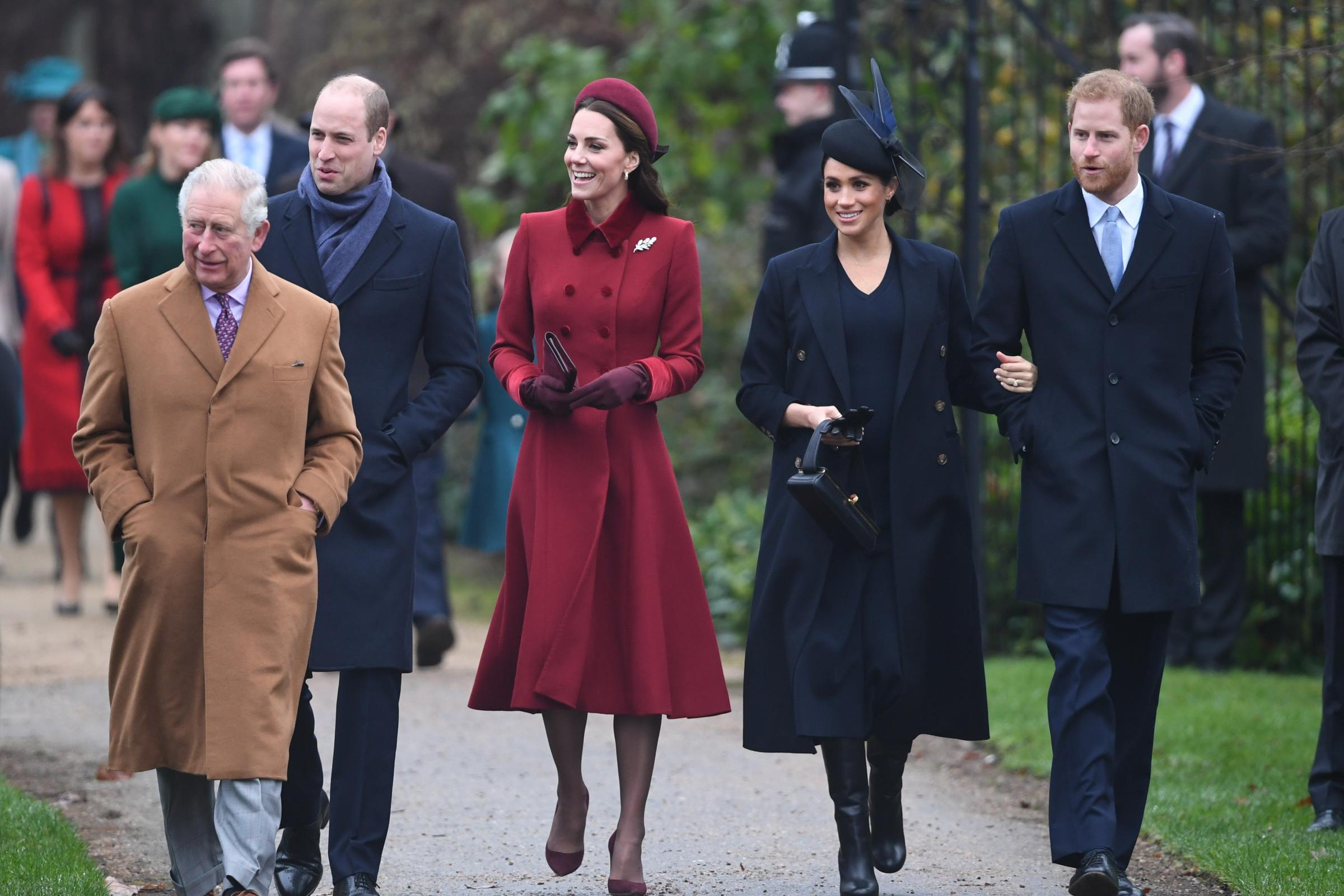 The Prince of Wales, the Duke and Duchess of Cambridge and the Duke and Duchess of Sussex attended church together in Sandringham, Norfolk, on Christmas Day (Joe Giddens/PA)