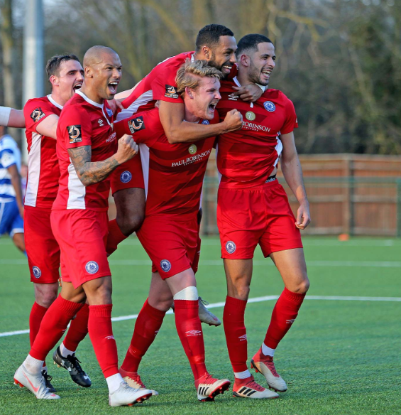 All smiles - Billericay Town celebrate Picture: NICKY HAYES/iCORE LTD